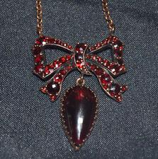 Victorian TOMBAK Garnet Pendant & Necklace Bohemian Antique Bow & Drop Rose Cut