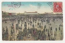 Happy Crowd At The Beach Atlantic City NJ USA 1911 Postcard 128a
