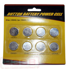 8 Assorted BUTTON BATTERY Cell Lithium Coin CR2032 CR2025 CR2016 Batteries