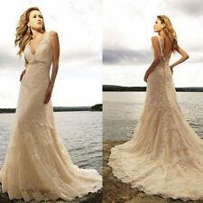 Lace Beach Wedding Dress Backless Sexy Bridal Gown Custom Size 6 8 10 12 14 16+