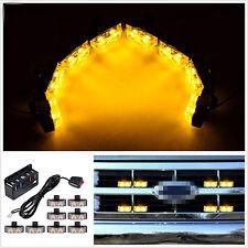 8in1 DC12V 2-LED Amber Car Off-Road Grille Emergency Strobe Lights Hazard Lamps