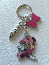 Personalised Pink  Minnie Mouse Inspired Keyring Xmas/Gift - Handmade