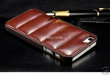 Case For Apple iPhone 5 5S Pu Leather stripe Case Back Cover Brown