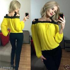 Sexy Women Off Shoulder Long Sleeve Shirt Lace Chiffon Blouse Loose Top T Shirt
