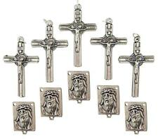 MRT Lot Of 10 Rosary Parts Cross & Ecce Homo Jesus Face Centerpiece Siver Plate