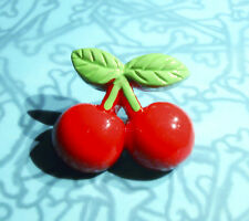 CHERRIES BROOCH PIN ROCKABILLY RED CHERRY 1 INCH IN SIZE