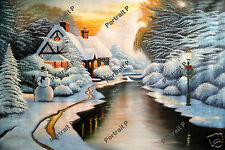 Christmas Landscape Oil Painting Hand-Painted Art Decoration Wall NOT a Print