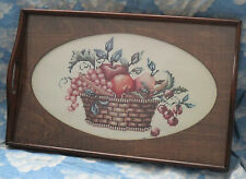 "WOOD NEEDLEPOINT DISPLAY TRAY WITH HANDLES ARTWORK UNDER GLASS 19.5"" X 12.25"""