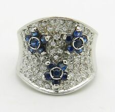 14K White Gold Diamond and Sapphire Flower Wedding Ring Anniversary Band Size 4