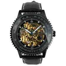 Luxury Black Stainless Steel Case Skeleton Self-Wind Up Mechanical Watch