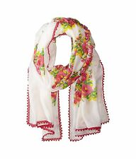BETSEY JOHNSON SCARF Shawl Vintage Floral Pink Roses $44 Retail