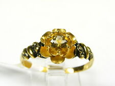 Victorian 14k Yellow Gold Sterling Silver Natural Citrine Floral Ring I062C