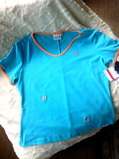 NWT LILY OF BEVERLY HILLS SIZE XL S/S V-NECK TURQ POLY SPANDEX TOP W/ ORANGE TRM