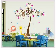 Large Monkey Owl Swirl Tree Wall Decals Removable Sticker Kids Art Nursery Decor
