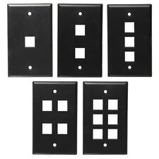 One BLACK Keystone Wall Plate CHOOSE 1,2,3,4, or 6 port (Cat5 Cat6 Audio/Video)