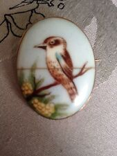 Kookaburra Bird Enamelled Handpainted Antique Austrian 9ct Gold Brooch Not Scrap
