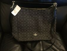 NWT Coach F55365 Outline Sig Celeste Convertible Hobo Crossbody Black Smoke