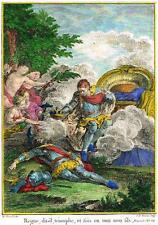 """Gravelot's Voltaire Prints """"REGNE DIT-IL TRIOMPHE"""" - Hand-Colored Eng. -1770"""
