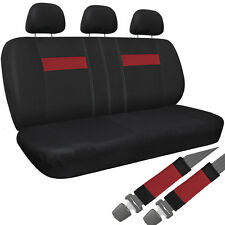 Car Seat Covers For Auto Dodge Charger 8pc Bench Red Black Belt Pads/Head Rest