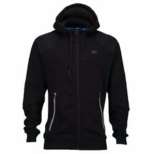 NEW ADIDAS ORIGINALS BLACK MOTO FULL ZIP HOODIE HOODED SWEATSHIRT SWEATER SZ M