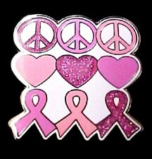 Breast Cancer Lapel Pin Tac Pink Ribbon Heart Peace Hippie Silver Plated New