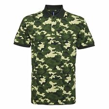 Mens Military Combat Camouflage Army Print Casual Polo Shirt S – 3XL