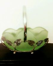 STUDIO Vintage Bagley Frosted Vase Bowl with metal basket Leaves