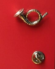 English Pewter HUNTING HORN Pin Badge Tie Pin / Lapel Badge  C22