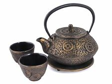 NEW Japanese Teapot & 2 Cup Set, Cast Iron Tetsubin Tea Pot Kettle & Cups, Gold