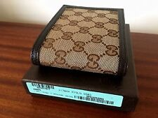 Gucci GG Monogram Mens Beige Canvas&Leather Bi-fold wallet 217044