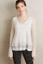 NWT ANTHROPOLOGIE Chiffon Hem Pullover Sweater M Medium  Knitted Knotted Grey