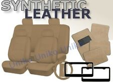 SOLID TAN PU Synth Leather Seat Covers Floor Mats License Plate Frames Beige CS4