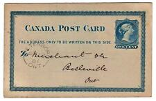 1881 Canada 1c postcard from Peterboro Ontario to Belleville