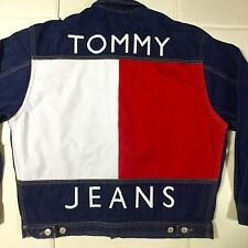 Vintage Tommy Hilfiger Jeans Denim Jacket Sailing Spell Out Big Logo RARE M VTG