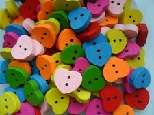 25 pcs Coloured Wood Heart  Scrapbooking // Sewing Buttons   15mm