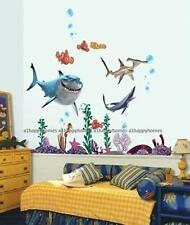 FINDING NEMO Sharks Wall Stickers Colourful Fish Sea Bathroom Deco Children Kids