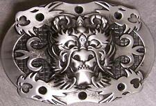Metal Belt Buckle Spooky Horned Dragon Devil Face NEW