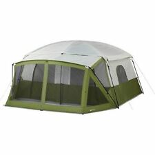 12 Person Cabin Tent Base Camp Family Large Camping Shelter Screen Porch Green