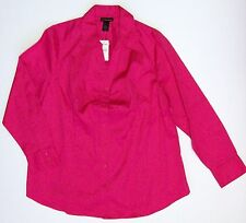 Lane Bryant 20 Pink Cotton Stretch Career Blouse Top Button Front Ruched Shirt
