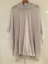 Helmut Lang Dove Grey Knit Hooded Poncho Jumper Sweater Jacket P XS S Small