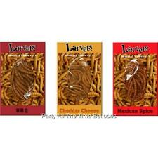 Three (3) Packs of Larvets Snax by Hotlix Fear Factor FREE SHIP Worm BBQ FLAVOR