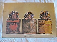 """Anne Geddes """"Pansies"""" Babies In Vegetable Cans Wood Mounted Picture 13"""" x 19"""""""