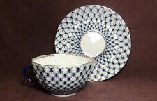 Russian Lomonosov Design Cobalt Blue Net fine bone china tea cup & saucer set