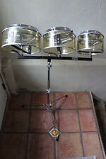 "Remo Roto Toms with Projection Shells 6"" 8"" 10"" w/ stand 1980s Vintage Drum Mint"