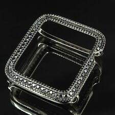 14K Black Gold Plated Over Real Silver Apple Watch Lab Diamond Case 42MM Bezel