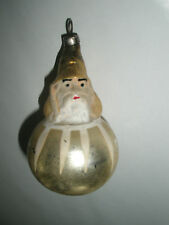 Vintage Antique Glass Christmas Tree Ornament Gold Santa in Ball Figural Germany