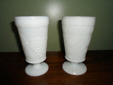 PAIR OF MILK GLASS PEDESTAL GLASSES - GOBLET - VASE - GRAPE PATTERN - DIAMOND