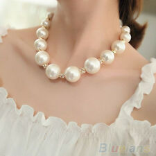 Gorgeous Womens Sweet Big Pearl Crystal Bib Statement Nobby Chain Necklace B54U