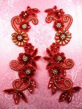 "0183 Mirror Pair Sequin Beaded Appliques Red Gold 10""  Set Floral"