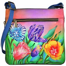 Anuschka Turkish Tulips Expandable Travel Crossbody Bag, Genuine Leather 550-TTP